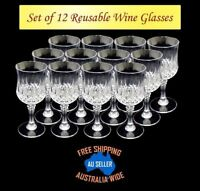 12 Premium Clear Plastic Drinking Reusable Wine Drink Glasses