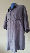Pro Man Pure Silk Men's Shirt Size L Short Sleeve Light Perple