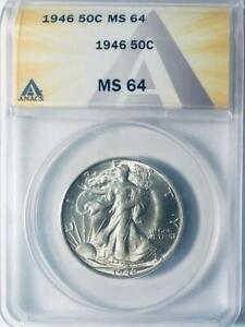 1946 Walking Liberty Half Dollar - ANACS MS-64 - Mint State 64