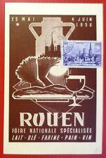 FRANCE - CARTE POSTALE PHILATÉLIQUE  FOIRE DE ROUEN 1956