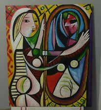 Pablo Picasso Spanish Artist Oil Painting Canvas Girl Before a Mirror Vintage