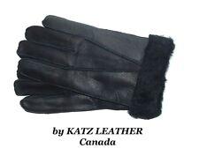 NEW!Mens/Womens Warm Black Winter Sheepskin Shearling Gloves Unisex Real Leather