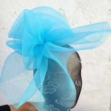 turquoise fascinator millinery burlesque wedding hat ascot race bridal party