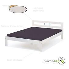 Lit simple enfant adulte 2 places 140 x 190  bois massif blanc meuble literie