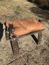 Vintage Camel Saddle Foot Stool Ottoman Leather/Wood Egyptian Motif
