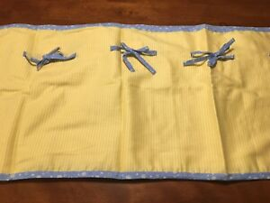 VALANCE floral canary yellow two-tone stripes blue bows Carter's NEW