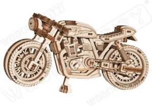 3D Puzzle Kinetic Model CAFE RACER Bike STEM Engineering Fun Gift by Wooden City