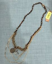 LUCKY BRAND Vintage Gold-Tone Charm Beaded Chain Cross Necklace RARE