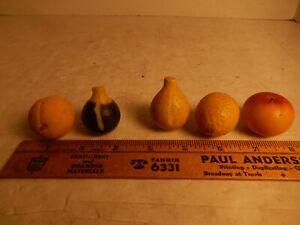Vintage Italian Alabaster Marble Stone Miniature Fruit Apple Lemon Apricot Figs