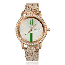 fashion check WoMaGe Leather rhinestone crystals Dial luxury gold Women Watch