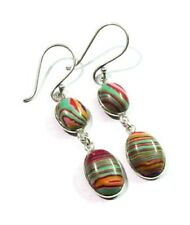 Deluxe! Fancy Color Rainbow Calsilica Gemstone 925 Silver Plated Dangle Earring