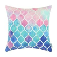 Cushion Covers Pillow Shells Poly Fleece Watercolor Geo Print Home Decor 45x45cm