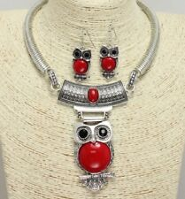 Silver and Red Colored FASHION Owl Necklace Set