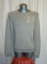 Men's HOLLISTER knitted crew necked grey embro wool blend jumper sz S great co