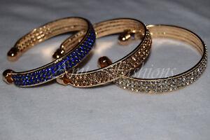 Fashion Womens Gold Crystal Rhinestone Bangle Cuff Bracelet Indian Jewelry Hot