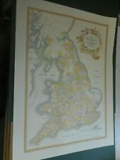 LARGE FOX HUNTS HUNTING AREAS MAP OF GREAT BRITAIN BY HAMPTON C1986 NEW