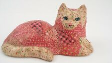 1960s Folk Art Decoupage Red Calico Cat Kitty Kitten Figurine Paperweight Figure