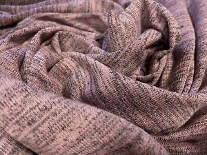 Melange Knit Jersey Knit Dress Fabric, Per Metre - Dusky Pink & Grey Marl Slub