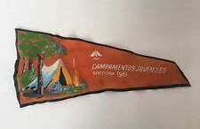 Vintage 1960s Youth Camping Flag Pennant Barcelona Spain Campamentos Juveniles