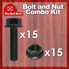 (15) 3/8-16x1-1/2 Grade 8 Hex Flange Bolts & (15) 3/8-16 Gr.G Flange Lock Nuts