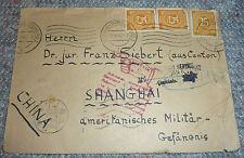 Amerikanisches Militär-Gefängnis Zensur Brief 1946 Generalkonsul Shanghai China
