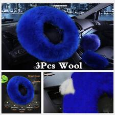 3Pcs/set Wool Fur Car Steering Wheel Cover Gem Blue Winter Furry Universal 38cm