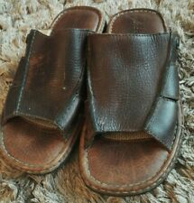 Mens Rockport Slip On Brown Leather Mules Sandals UK 8 ,Wide Fitting