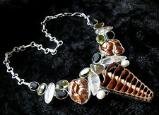 Gorgeous & Unique 925 Silver Overlay Shell / Rutile Quartz & Gem Necklace