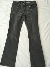 Harley Davidson Women's 6 Jeans Gray Grommet Embellished Low Rise Boot Cut