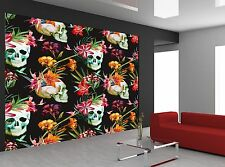 Flowers and Skull  Wall Mural Photo Wallpaper GIANT WALL DECOR Paper Poster