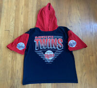 Minnesota Twins Vintage 1991 Hooded Short Sleeve Shirt Size L RARE