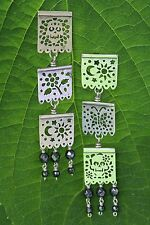 Silver Earrings Triple length Papel Picado Mexican Party Banners Skulls & Flower