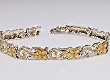 Vintage Sterling Silver Flower Link Bracelet.