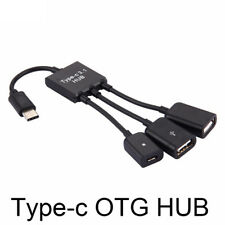 3 in1 3 Port USB-c Type-c 3.1 Male to USB 2.0 OTG HUB Adapter Cable Converter TP