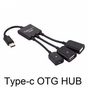 3 in1 3 Port USB-c Type-c 3.1 Male to USB 2.0 OTG HUB Adapter Cable Converter YI
