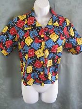 Vintage Bandanna Print Shirt Size Large Cropped Length Bright Casual To