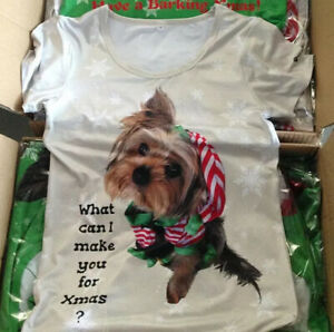 🎄XSmall Ladies Yorkshire Terriers Dog Christmas T-Shirt  ( size 8,10 &12 )) 🎄