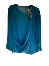 WOMEN'S BLOUSE WORTHINGTON DEEP LAGOON BLUE XL NWT