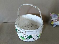 Hand Painted White Wicker Display Basket With Ivy Vines