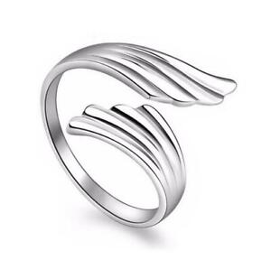 *UK* Silver Plated Adjustable Open Angel Wing Feather Ring Thumb Bird Ladies