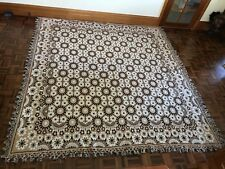 Vintage Retro flower power king size cotton bedspread rug fringe tassel edge