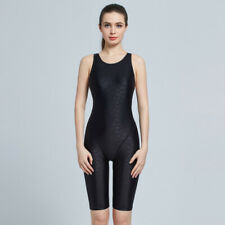 Knee Length Competition One Piece Swimsuit Women Solid Professional Swimwear 488