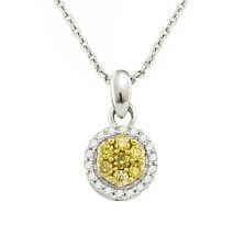 Diamond Pendant 10K White Gold Yellow & White Diamond Cluster Pendant .25ct