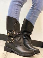 Scarpe donna Stivali stivaletti donna bassi biker boots con fibbie anfibi ITA