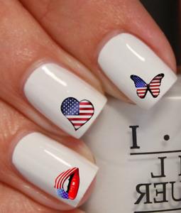 ongles manucure nail art water decal sticker Drapeau Etats Unis cœur papillon