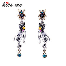 KISS ME Personalized Dangling Hands Spider Long Antique Earrings ed01417