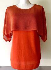 Yuka Paris Layered Mesh Thin Knit Top Blouse Size XL Womens Orange Keyhole Back