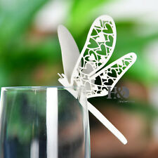 48 Dragonfly Wedding Place Name Cards Glass Laser Cut on Luxury Pearlescent Card