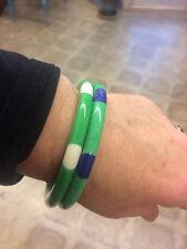 Shultz Green Bakelite White Polka Dot Bangle Bracelet Signed One Left!