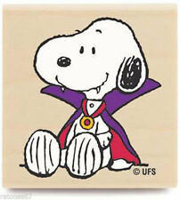 New Peanuts SPOOKY SNOOPY Wood Rubber Stamp Halloween Count Dracula Trick Treat